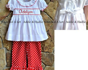 Girls ruffled pants set monogrammed Christmas Red polka dot dress Outfit