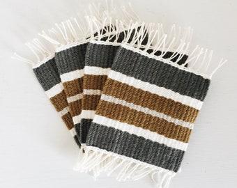 Woven Coasters | Set of 4 | Dark Gray, White, Chestnut Brown, & Light Gray