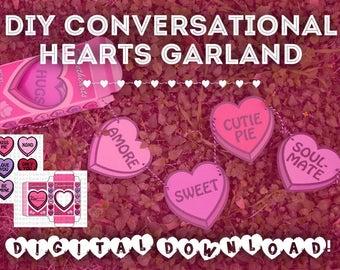 DIGITAL DOWNLOAD - DIY Positive Sweethearts (Conversation Hearts) Garland, Valentine's Day Decor, Handmade Valentine's Gift