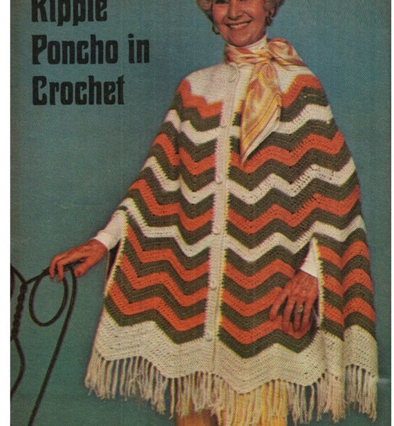 Patron pdf de tejido en crochet poncho patron de 1970s