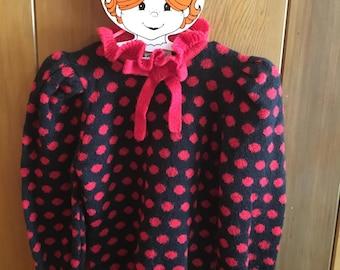 Beautiful Vintage Clovis Ruffin Ruffinknit Puff Sleeve Ruffle Collar Black Orange Polka Dot Sweater Medium