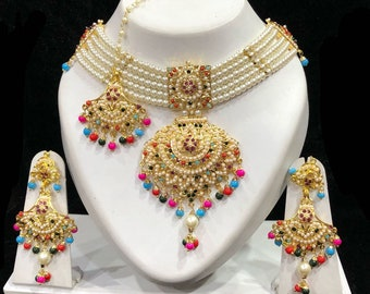 Punjabi Jadau Rani Haar, Choker Necklace W Earrings & Tikka, Indian Jewelry,Indian Bridal Jewelry, Bollywood,Ethnic,Polki Necklace,Moti Haar