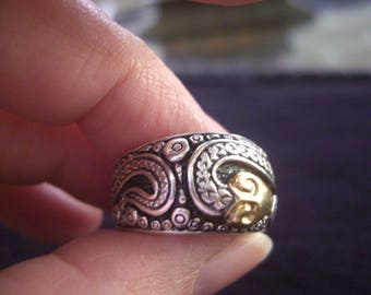 SALE!!!Konstantino ornate Sterling Silver and 18K gold band ring.