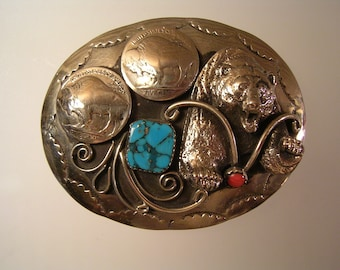 Vintage Old Pawn Buffalo Nickel Belt Buckle Silver Tone Turquoise & Coral Southwestern Style w/ Grizzly Bear