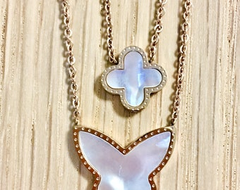 Flower and heart mother of pearl necklace