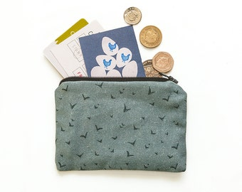Small Zip Purse - Loose Change Purse - Coin Purse - Loyalty Card Holder - Coastal Design - Bird Pattern - Gifts for her