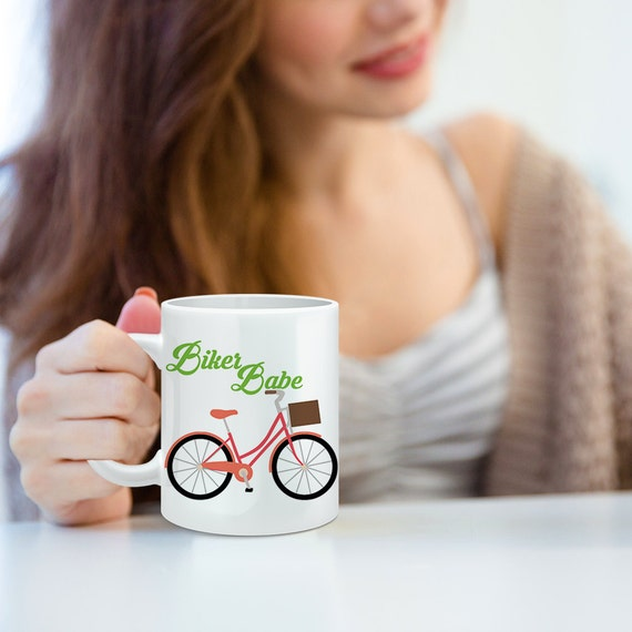 Coffee Mug Biker Babe Bicycle Coffee Mug - Funny Coffee Cup For Her - Gift for Biker