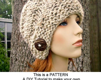 Instant Download Knitting Pattern - Knit Hat Knitting Pattern - Knit Hat Pattern Hybrid Swirl Cloche Hat Pattern - Womens Accessories