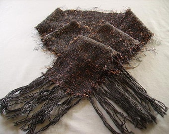 Handwoven black wool and copper metallic scarf