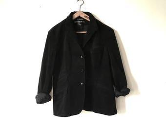 Vintage Ralph Lauren Corduroy Black Fitted Tailored Blazer Jacket, Ladies