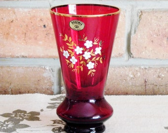 Bohemia Czechoslovakia vintage hand made 18cm ruby glass vase, 24K gilt, white blossoms, Mother's Day gift idea