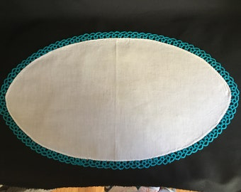 Large oval vintage turquoise teal tatted doily, white cotton center with handmade tatting sewn on the edges. 2 available