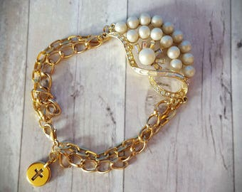 Vintage Gold and Pearl Bracelet, Gold Chain Bracelet, Vintage Gold and Pearl Connector Link, Repurposed and Upcycled Assemblage Jewelry