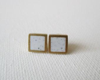 light gray granite brass hexagon stud earrings
