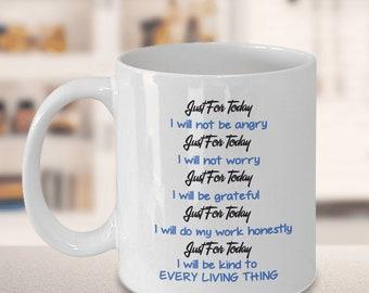 Reiki Prayer Coffee Mug Gift 5 Principles of Reiki Gift Coffee Mug, Positive Mantra Mandala Gift Cup