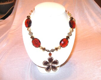 Amber Crystal Flower Necklace