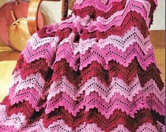 Afghan Crochet Pattern, Crochet Afghan Pattern, Ripple Afghan Crochet Pattern, INSTANT Download Pattern PDF (1028)