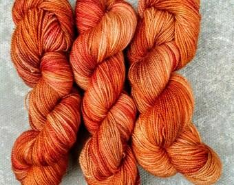 Harvest Home, hand dyed BFL high twist fingering yarn