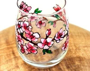 Cherry Blossom Wine Glass, Handpainted Wine Glasses, Stemless Wine Glasses, Painted Wine Glasses, Japanese Cherry Blossom Flower Wine glass