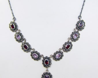 Vintage Sterling Silver Y Necklace with Amethyst - Garnet and Marcasite - 2703J