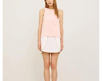 Short Blush Dress / Sleeveless Party Dress / Bridesmaid Dress / A-silhouette Mini Dress / Elegant Pink Dress / Resort Wear / Bicolor Dress