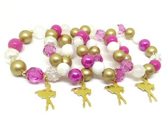Gold Ballet Ballerina Dance bracelets party favors in organza bags with special birthday girl bracelet