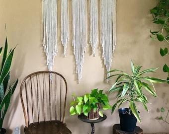 "Large Macrame Wall Hanging - Natural White Cotton Rope 36"" Dowel - Boho Home, Nursery Decor, Wedding Backdrop, Curtain - Ready To Ship"