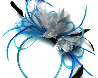 Aqua and Silver Black Net Hoop & Feathers Fascinator On Headband Ascot Wedding Derby