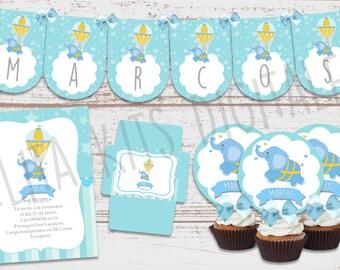 "Luxury printable Kit ""elephant celestial Balloon"" 1 year old, baptism, baby Shower, baby. Custom-ready to print. Hot air balloon"