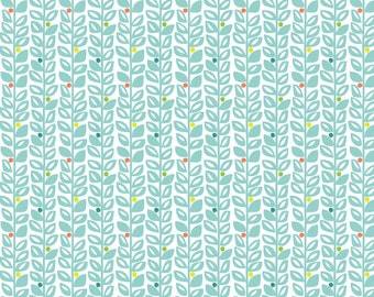 1/2 yard SUNDALAND JUNGLE  by Katy Tanis for Blend Fabrics Climbing Vines Blue