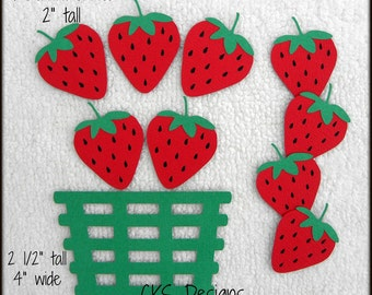 Die Cut Summer Strawberry Picking Patch Premade Paper Piecing Embellishment for Card Making Scrapbook or Paper Crafts