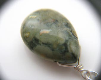Green Gem Teardrop Pendant Necklace . Rhyolite Necklace . Green Stone Necklace . Crystals for Happiness Necklace