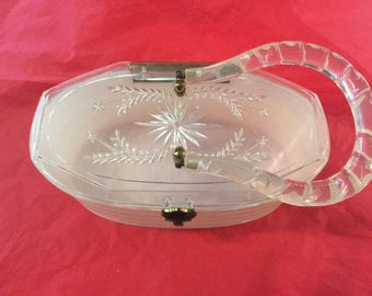 White and clear lucite purse