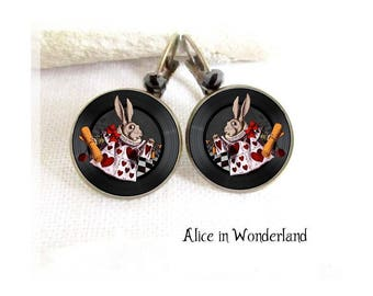 Alice in Wonderland earrings jewelry the white rabbit earrings cheshire bronze cabochon glass photo black once upon a time tea time party
