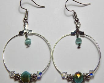 Silver Hoop and Aqua Bead Earrings