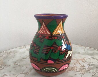 Vintage Mexican Style Colorful Ceramic Vase