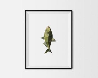 Geometric Art Print, Nursery Art, Baby Room Art, Fish Art Print, Minimal Art Print