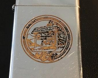 Camp David Presidential Retreat Zippo Slim Lighter  -  Used 1971