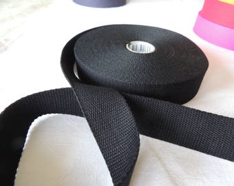 Strap bagagere 30 mm wide black cotton