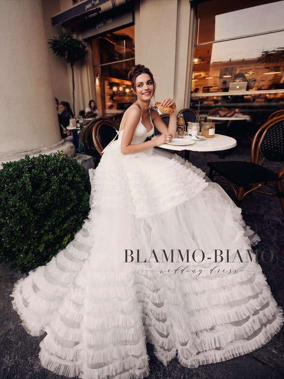 Bridal gown SABRINA with long train by BLAMMO-BIAMO Royal