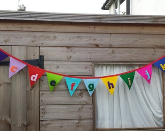 Felt Appliqué Alphabet a- z- Lower case- Bunting-Banner-Bedroom-Playroom-Nursery-Handmade