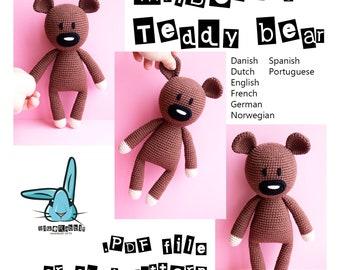 Mr.Bean's Teddy bear- amigurumi crochet pattern. Languages: English, Danish, German, Norwegian, French, Dutch, Spanish, Portuguese