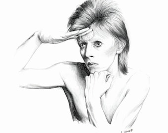 David BOWIE A4 Printable minimal drawing black and white illustration print