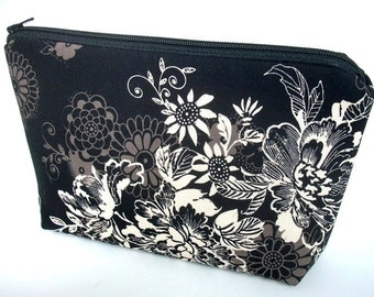 Large Cosmetic Zipper Pouch Large Padded Cosmetic Bag Flat Bottom Zipper Pouch Clutch ECO Friendly  Zephyr in Black