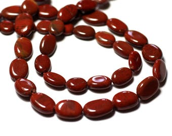 10pc - stone beads - Jasper red Olives oval 7-12mm - 8741140011786