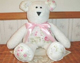 Rachel Ashwell Wildflower Bear/ Handmade/ White Chenille and Rachel Ashwell Wildflower Bouquet Fabric