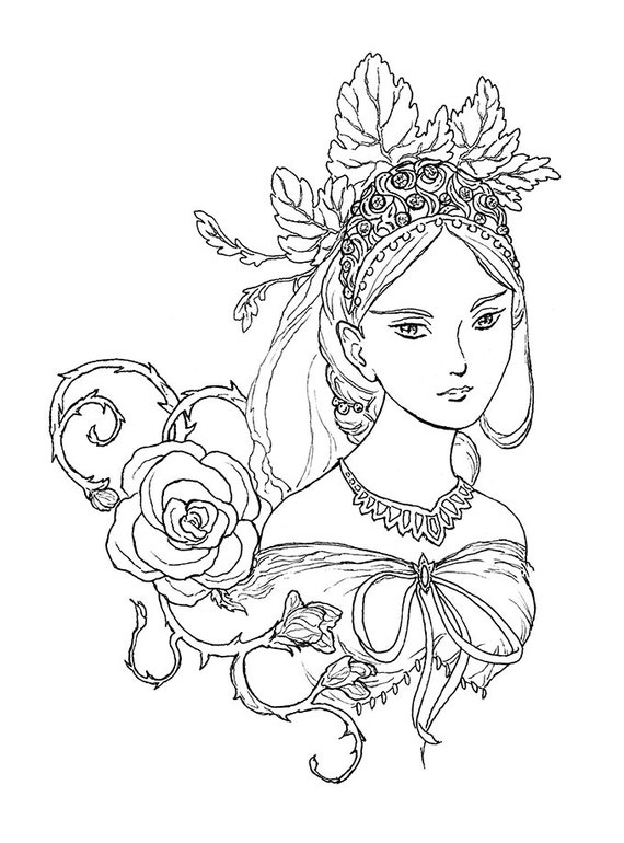 Tatiana Fairy Queen Portrait ink drawing coloring page