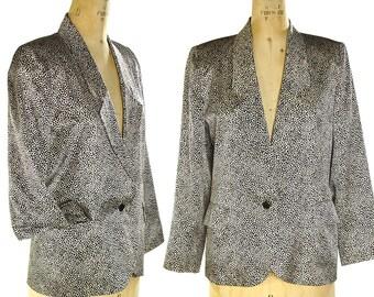 90s Silk Cheetah Blazer Vintage 1990s Mini Black & White Animal Print Tailored Jacket Boho Rocker Lightweight with Pockets Women's M L