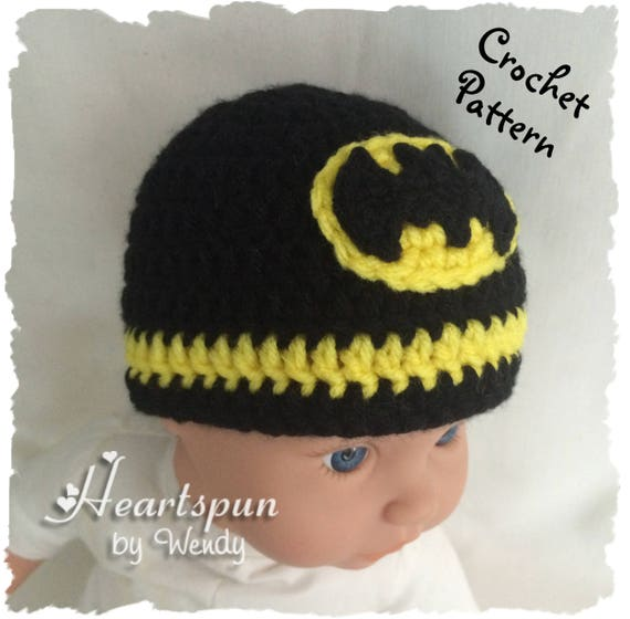 Crochet pattern to make a batman hat in 8 sizes baby to adult this is a digital file dt1010fo