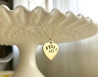 Still Ill Moz // Hand-Stamped Brass Necklace